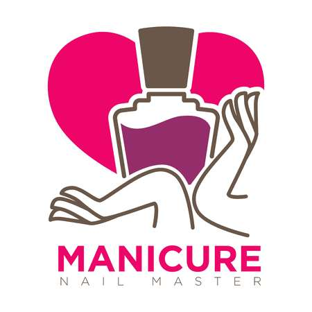 female hands: Manicure logotype with female hands holding nail polish