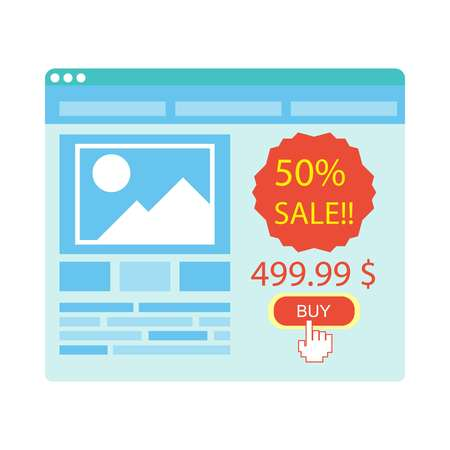laptop: Buy button on blue website purchase with 50 percent sale