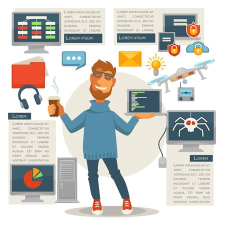 laptop: Poster in programming concept. Programmer man with computer devices