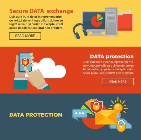 internet protection: Secure data exchange and protection program Internet page with information Illustration