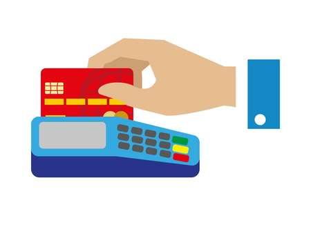 digital: Cash free payment with bank credit card vector illustration