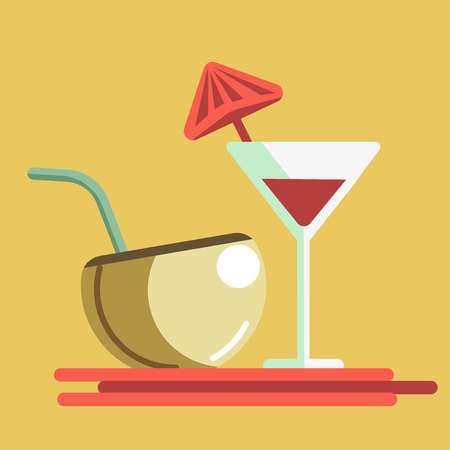 Refreshing summer cocktails in martini glass and coconut with straw