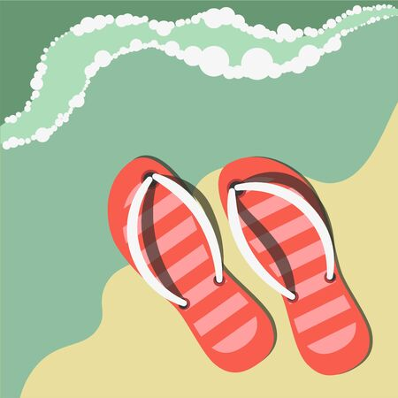tropical: Striped flip flops on sand near water. Summer beach composition