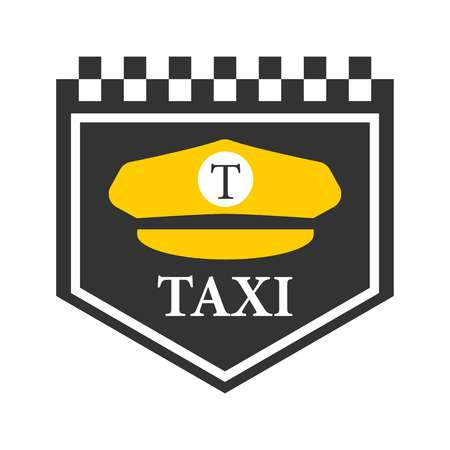 car speed: Taxi logo with black and white checkers, driver cap symbol
