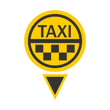 Taxi logotype in round shape isolated on white Illustration