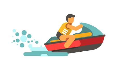 extreme close up: Young male person in life vest driving water scooter