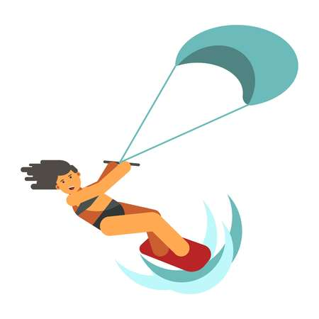 Dark-haired woman practices kiteboarding flat design on white background.