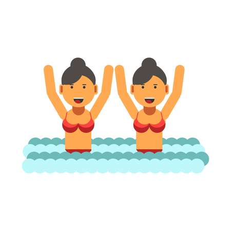 to spend the summer: Female twins in swimsuits with raised hands in water