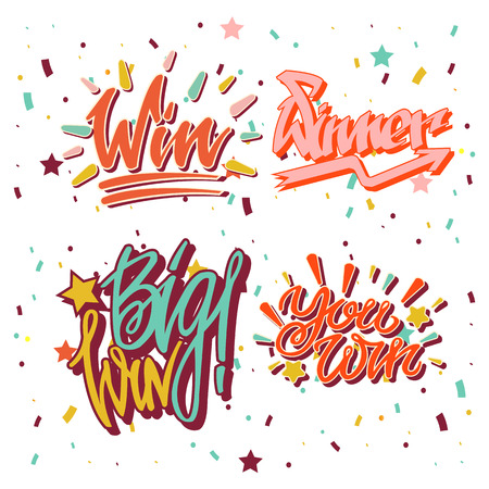 winners: Big win winner text writing and vector lettering