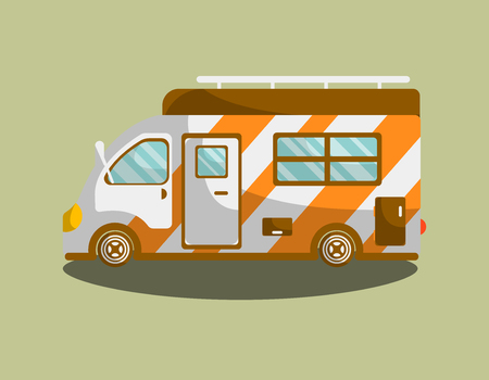 Camping van trailer or motorhome vector flat icon