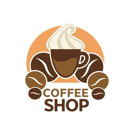 Coffee shop, cafeteria or cafe vector icon template