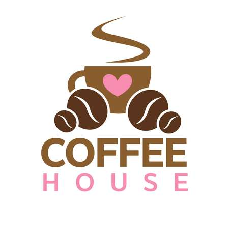 steamy: Coffee house, cafeteria or cafe vector icon template