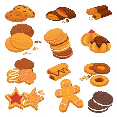 초콜릿 쿠키와 진저 비스킷 디저트 벡터 아이콘 일러스트