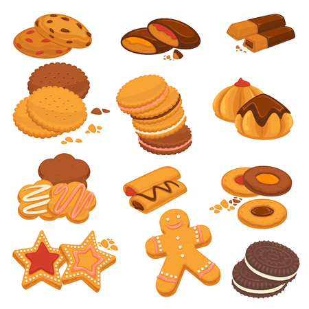Chocolate cookies and gingerbread biscuits desserts vector icons