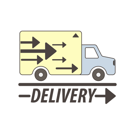 freight transportation: Delivery service vector logo template for logistics or international freight transportation company. Flat symbol of cargo truck or trailer vehicle with direction arrows Illustration