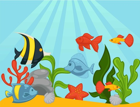 Fishes in aquarium or ocean underwater vector illustration Illustration