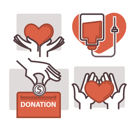 box: Blood donation vector heart in helping hand icons templates Illustration
