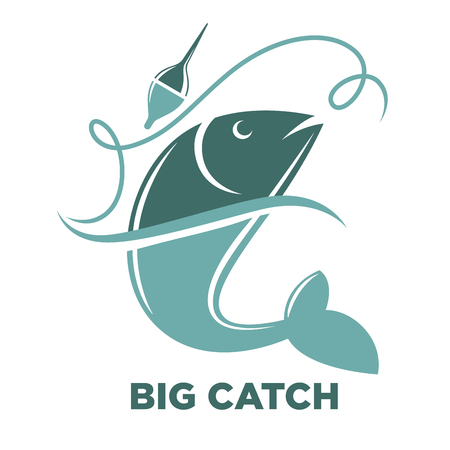 Fishing big fish catch vector isolated icon template Illustration