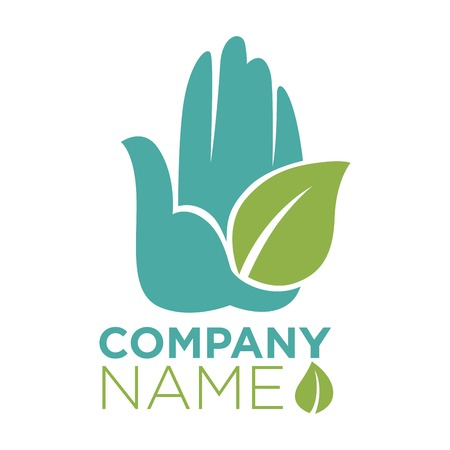 goodness: Hand and leaf ecology company template vector icon