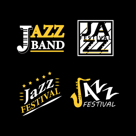 jazz modern: Jazz club musical live festival vector sax and piano icons