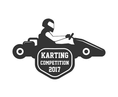 competitions: Karting club or kart races championship sportcar vector template icon Illustration