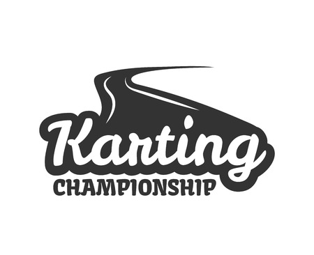 car wheel: Karting club or kart races championship track vector template icon