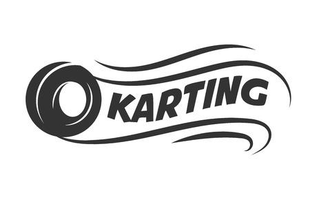 Karting club of kart races vector pictogram van het motor band vector sjabloon Vector Illustratie