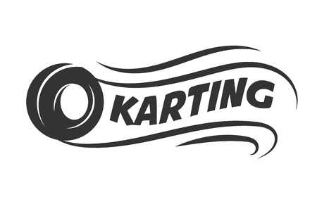 Karting club or kart races motor tire vector template icon