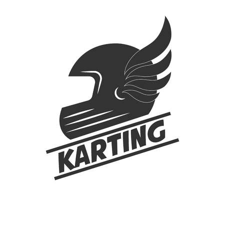 Karting club or kart races sport helmet vector template icon