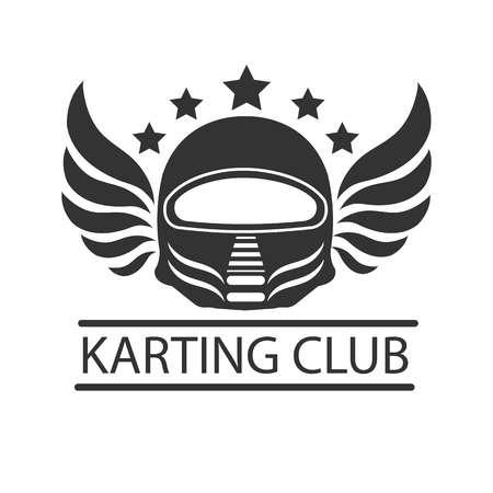 racing wings: Karting club or kart races racer helmet vector template icon