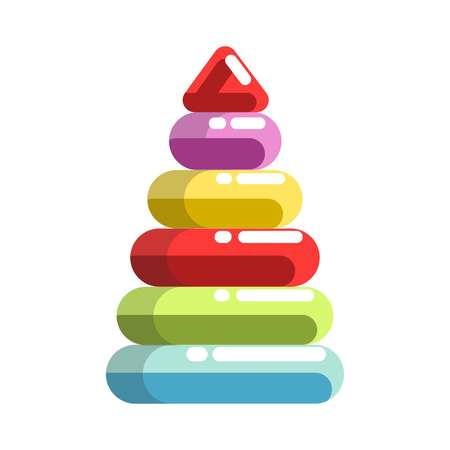 kids toys: Kid toy children plaything pyramid constructor vector icon Illustration