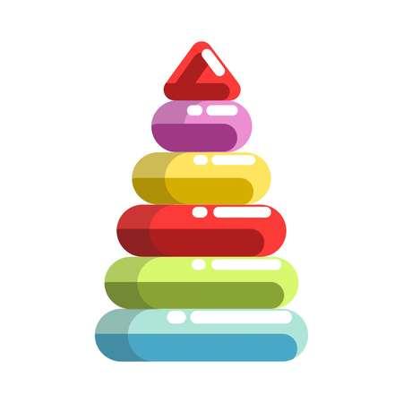 Kid toy children plaything pyramid constructor vector icon Illustration