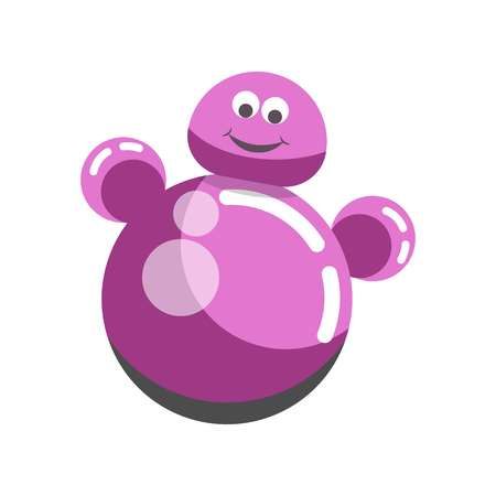 wobbly: Kid toy children plaything roly-poly tumbler doll vector icon