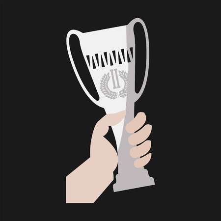 competitions: Champion winner cup award in hand vector flat icon