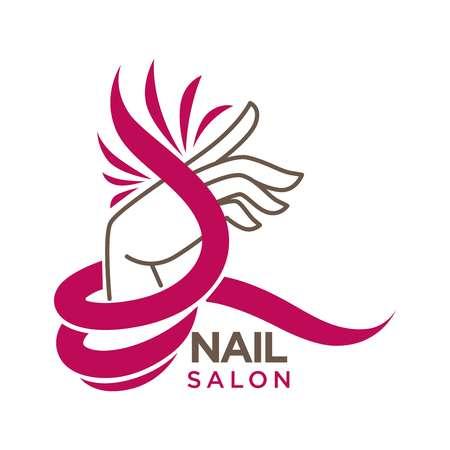 Nagels studio of manicure salon vector platte pictogrammalplaatje Vector Illustratie