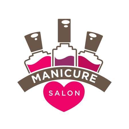 Manicure salon or nails design studio vector polish bottles icon