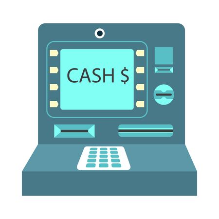 online: ATM cash money payment or withdrawal vector flat icon