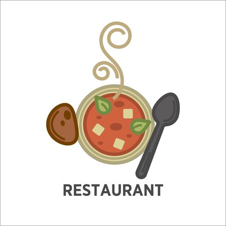 hot: Restaurant icon template of vector soup plate