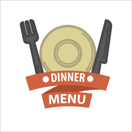 ribbon: Restaurant icon template of vector menu element Illustration