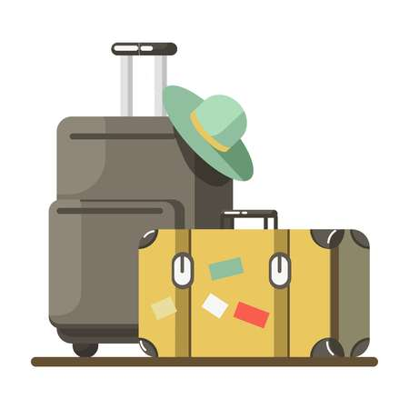 holiday vacation: Summer travel or holiday vacation vector luggage suitcases Illustration