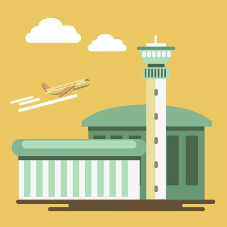 airplane travel: Summer travel or holiday vacation vector airport and airplane