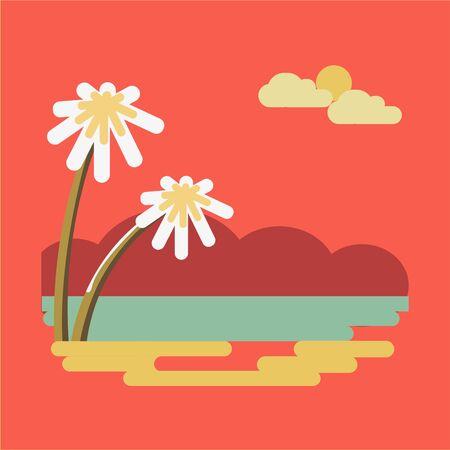 holiday vacation: Summer travel or holiday vacation vector ocean beach Illustration