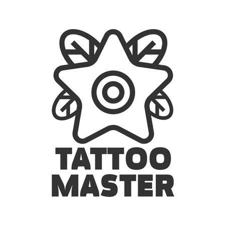 master: Tattoo master studio salon vector star flower icon template