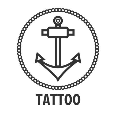 master: Tattoo master studio salon vector marine anchor icon template