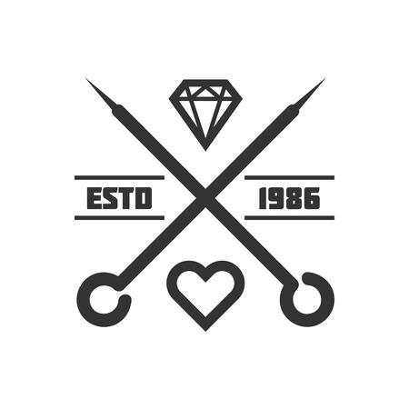 Tattoo master studio salon vector needle heart icon template Illustration
