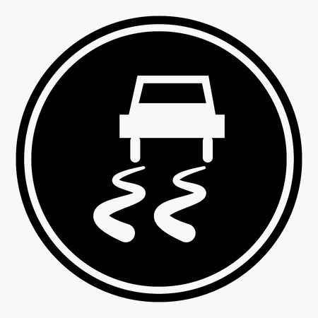 icon vector: Slippery road traffic warning sign with car on icy track symbol. Caution vector isolated icon or label