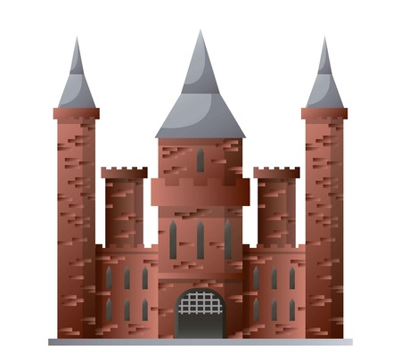Medieval castle with high towers made of brown brick isolated Illustration