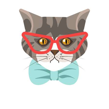 Siberian cat with red glasses and blue tie portrait Illustration