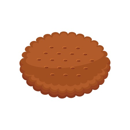 Biscuits with pieces of chocolate and caramel isolated on white