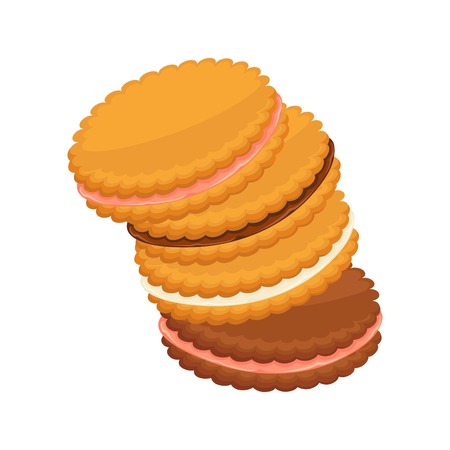 brown: Sandwich biscuits, filled with cocoa, strawberry and vanilla cream isolated